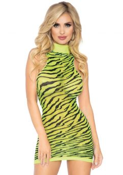 High neck zebra mini dress