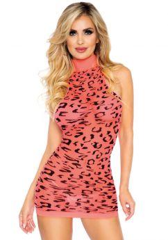 High neck leopard mini dress