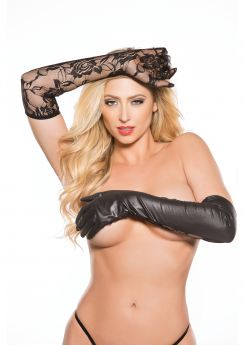 UNDER LACE & WET LOOK GLOVES BLACK