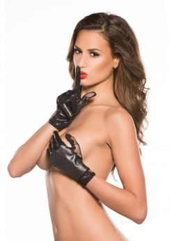 THUMB LACE & WET LOOK GLOVES BLACK