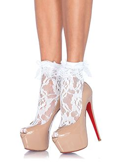 LACE ANKLET WITH RUFFLE WHITE OS